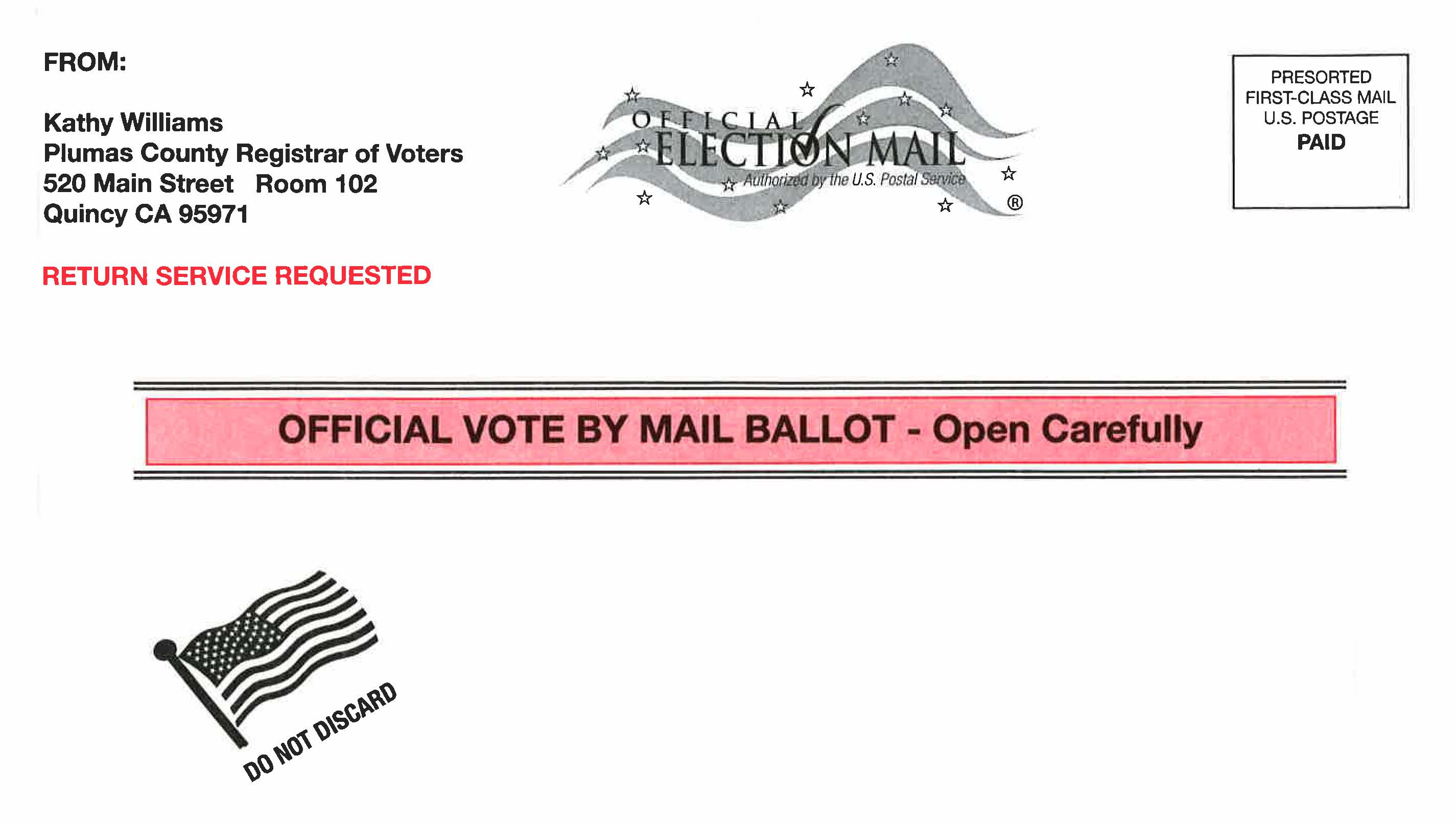 Official Vote by Mail Ballot Envelope Example